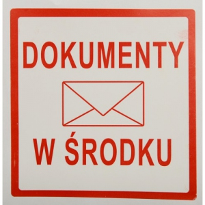 ETYKIETA 10/10 CM--DOKUMENTY W ŚRODKU-- 100 SZT.