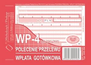 DRUK POLECENIE PRZELEWU WPŁATA GOTÓWKOWA 4 ODCINKOWA A6 445-5M