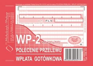 DRUK POLECENIE PRZELEWU WPŁATA GOTÓWKOWA 2 ODCINKOWY 449-5M