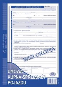 DRUK UMOWA KUPNA-SPRZEDAŻY POJAZDU WIEL.A4   650-1