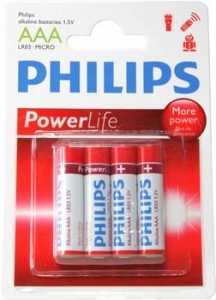 BATERIA PHILIPS LR03/AAA POWER ALKALINE POWER LIFE