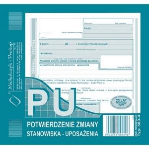 DRUK PU POTWIERDZENIE ZMIANY STANOWISKA - UPOSAŻENIA 560-4