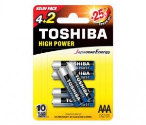 BATERIA TOSHIBA LR03/AAA ALKALINE-6SZT